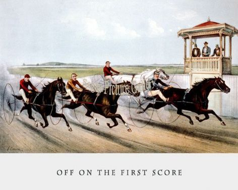 Fine art Horseracing Print of the 1800's Racing and Trotting of Off on the First Score